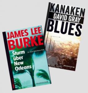 Buchcover von Sturm ueber New Orleans von James Lee Burke und Kanakenblues von David Gray