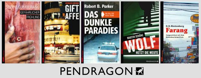 Fünf Buchcover aus dem Pendragon Verlag in einer Reihe